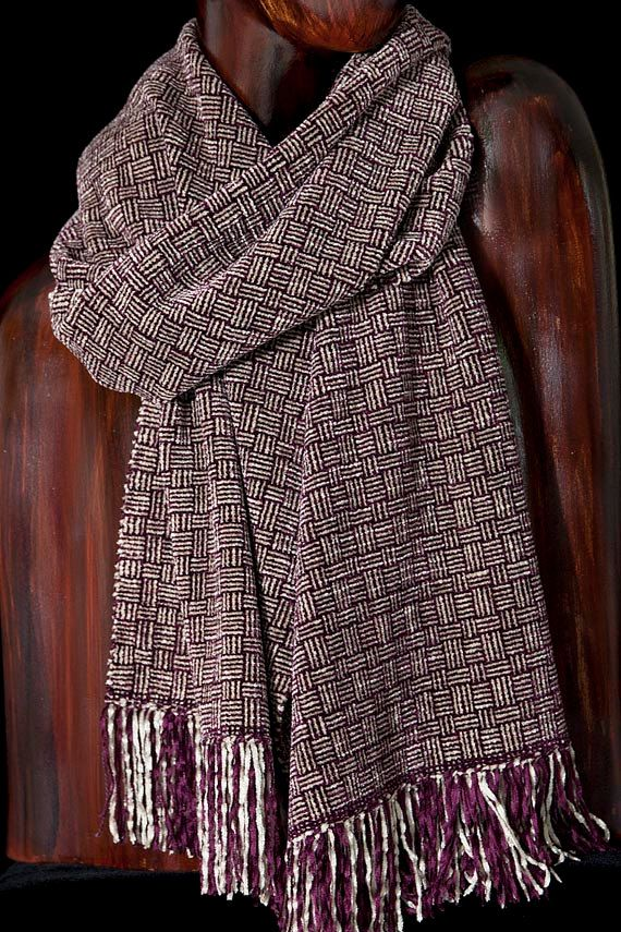 Warm Handwoven Scarf Chenille Scarf Basket by FitchStudioWeavers