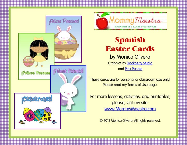 Mommy Maestra Free Spanish EasterThemed Note Cards