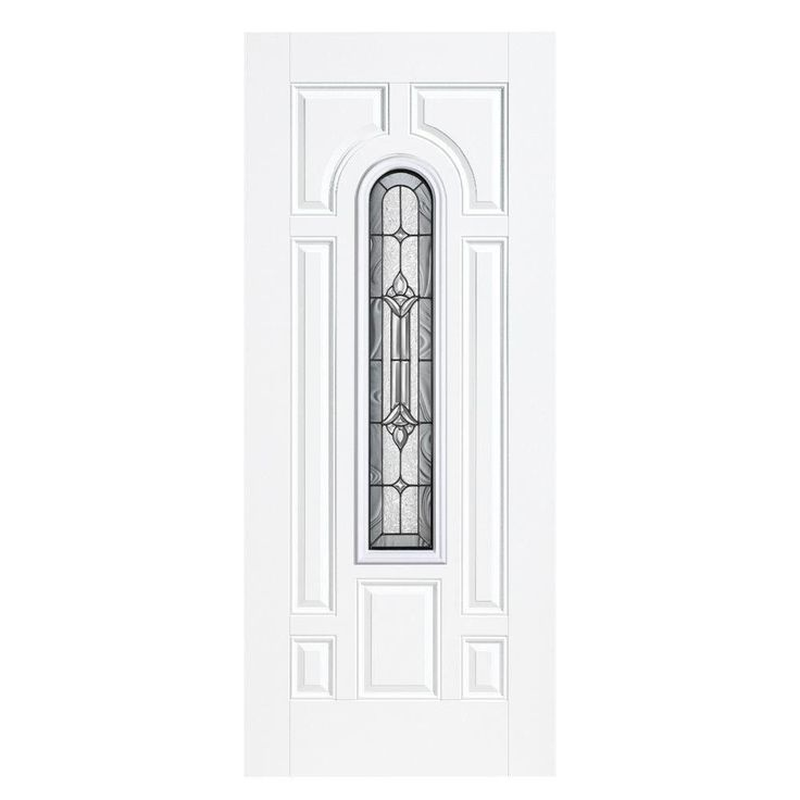 Masonite 36 in. x 80 in. Providence Center Arch Primed Smooth Fiberglass Prehung Front Door with No Brickmold, Primed White