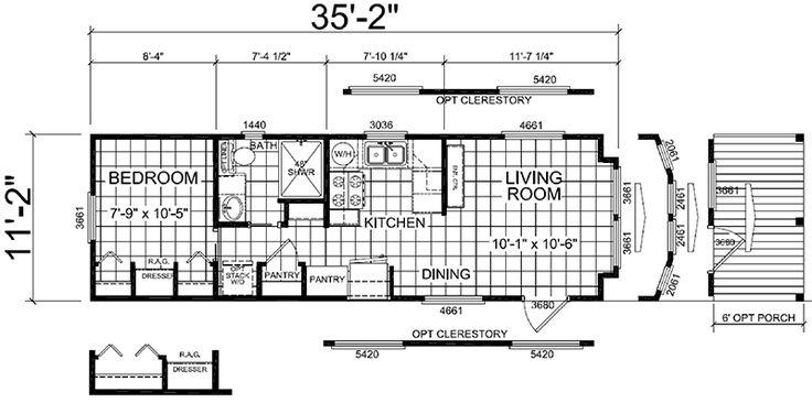Recreational Park Model Galley Kitchen Home Floor Plans