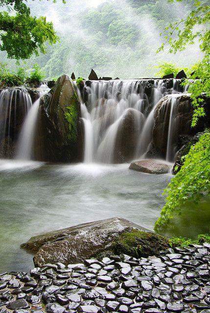 View from the foot bath. Kinugawa, Tochigi, Japan. Kinugawa Onsen is a