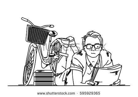 a man reading a book beside a bike line art vector