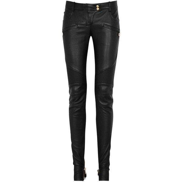 Womens Leather Trousers Balmain Black Leather Biker Trousers ($2,735) ❤ liked on Polyvore featuring pants, trousers, jeans, bottoms, ribbed leather pants, real leather pants, five pocket pants, stretchy pants and ribbed pants