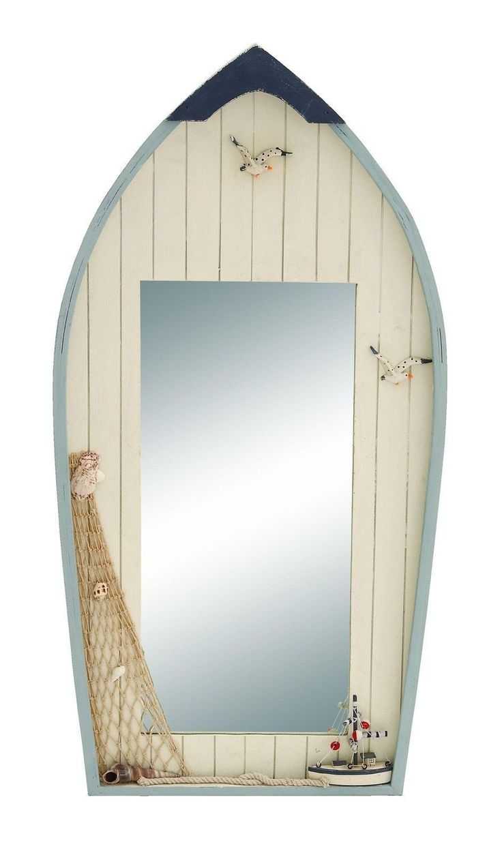 Nautical Row Boat Wall Mirror With Fishing Net Ocean Sea Themed Decor
