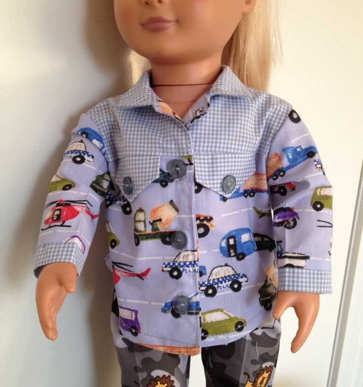 Long sleeved cotton shirt for 18in boy or girl dolls like Our Generation and American Girl by TangledKat on Etsy