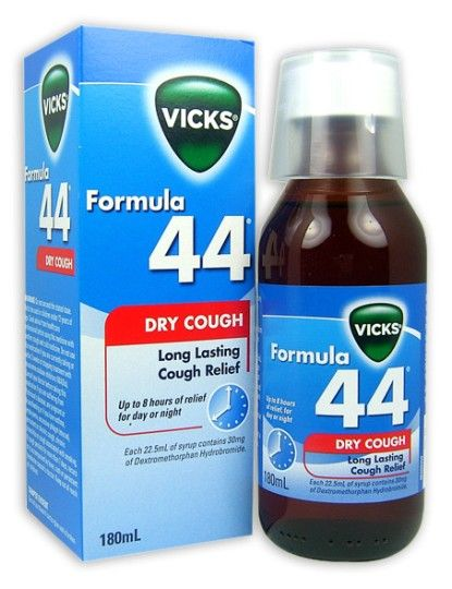 Vicks formula 44 contains Dextromethorphan which is a cough suppressant that acts quickly to calm and quieten the cough. Description from…
