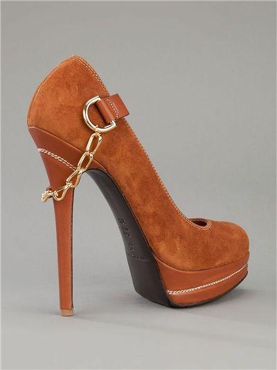 Gianmarco Lorenzi Brown Suede Platform Pumps with High Stiletto Heels & Chain Detail €650 #GML #Shoes #Lorenzis