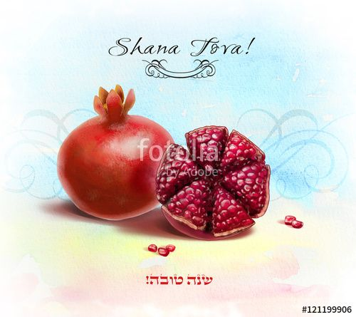 """Download the royalty-free photo """"Shana Tova! Happy New Year in Hebrew. Rosh Ha-Shana. Rosh Hashanah Jewish New Year 5777 greeting card with Pomegranates. Watercolor Pomegranate seeds, Sliced, Sukkot, Jewish new year, Jewish holidays"""" created by sofiartmedia at the lowest price on Fotolia.com. Browse our cheap image bank online to find the perfect stock photo for your marketing projects!"""