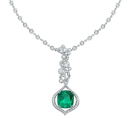 High Jewellery | Luxury Jewellery | Boodles  An ethereal green fire burns within richly coloured emeralds, their luminosity symbolising a beam of light as it strikes through forest foliage. Petal shaped flames dance amongst swirling tendrils creating a natural harmony between the elements: earth and fire. Featuring the finest untreated Columbian Emeralds from the Muzo mines.