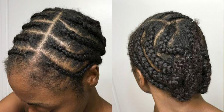 Cornrowed natural hair