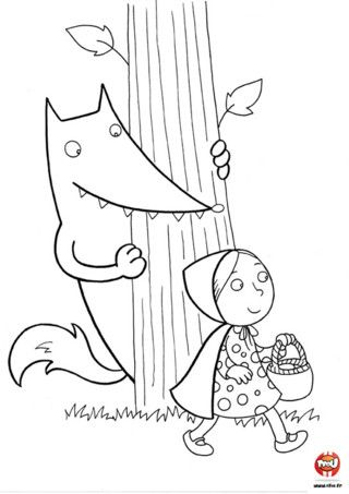 Coloriage : Le loup se cache derrière un arbre pour ne pas être vu de la petite fille ! Imprime ce joli coloriage et utilise les couleurs de ton choix pour colorier la forêt, le loup et la petite fille