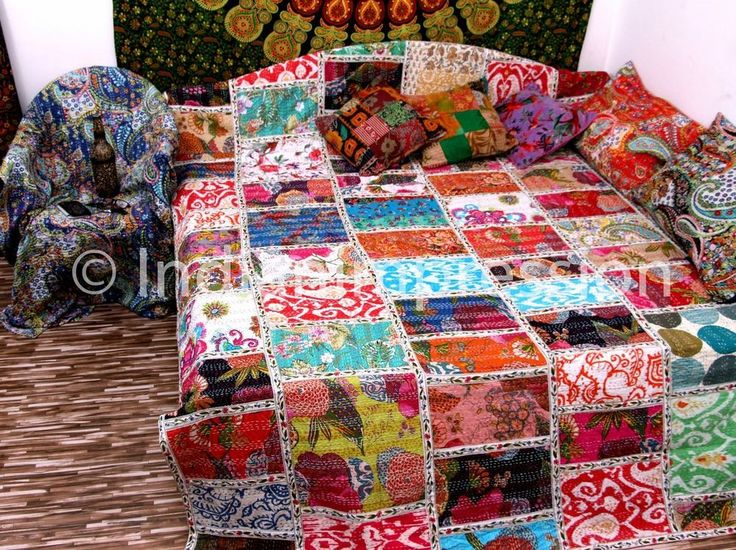 Twin Indian Vintage Kantha Quilt Multi Patchwork Blanket Bedspread Throw Art Handmade