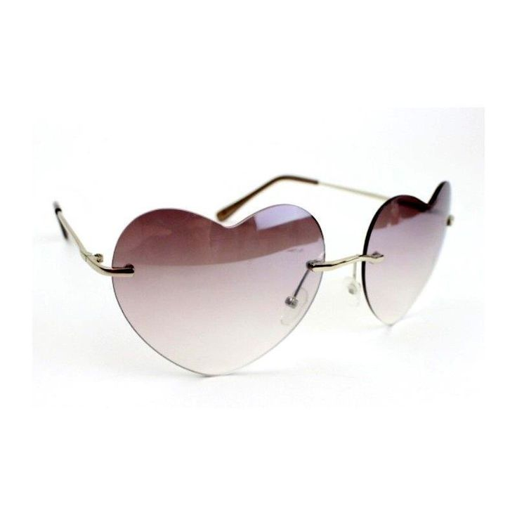 Heart Shaped Rimless Fashion Sun Glasses UV 400 Gray Tone Gradient Lens NWT NEW #Simi #Rimless