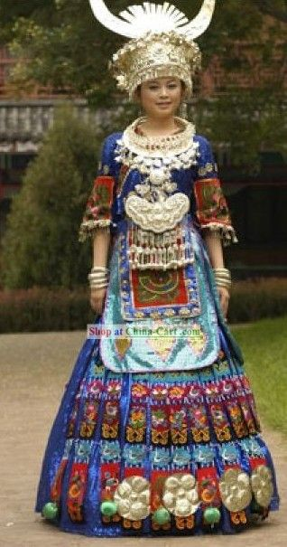 China Miao Ethnic Clothing and Silver Hat