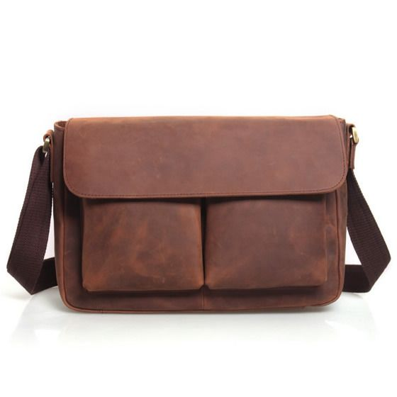 "Vintage Handmade Antique Crazy Horse Leather Messenger Bag / 11"" MacBook Air 12"" Laptop Satchel"