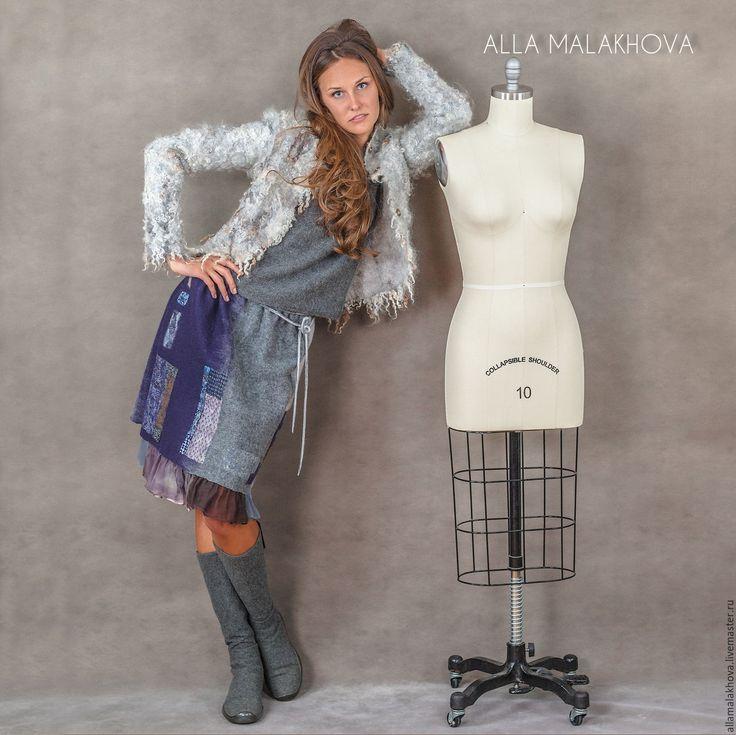 Купить Валяная юбка Тёплый Дом - фиолетовый, серый, синий, юбка, валяная юбка