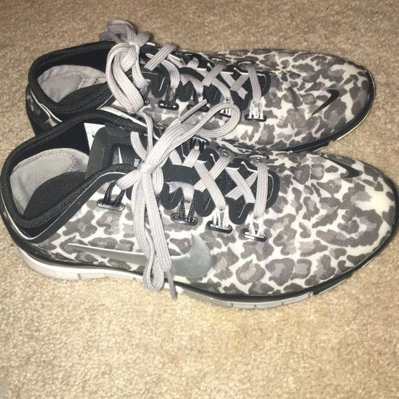 Nike leopard gym shoes Nike leopard gym shoes. Literally worn two times. They were too small for my feet. Just bottoms have wear on them. They look brand new. Size 5.5 Nike Shoes Sneakers