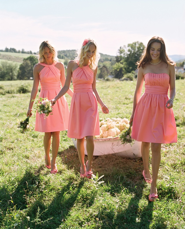 Coral Reef is one of our favorite bridesmaid hues. Check out these styles, along with other featured bridesmaid dresses in this color! #davidsbridal