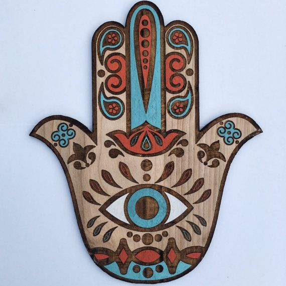 Beautiful Boho Hamsa Wall Art, Hand Painted Sacred Protection Symbol Decor, Hand of Fatima