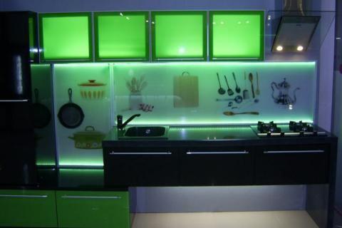 Подсветка шкафов в стиле техно