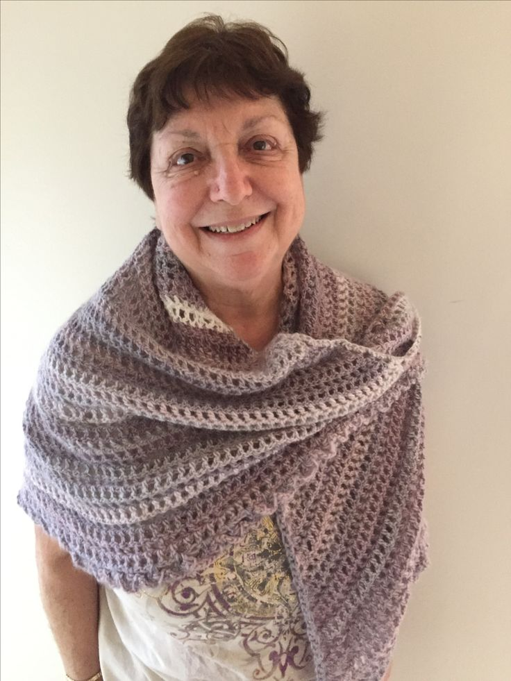 Elegant crocheted shawl in subtle shades from pearl to grey to lilac. See: http://www.lilcreates.com/lillians-blog/crocheting-against-the-clock