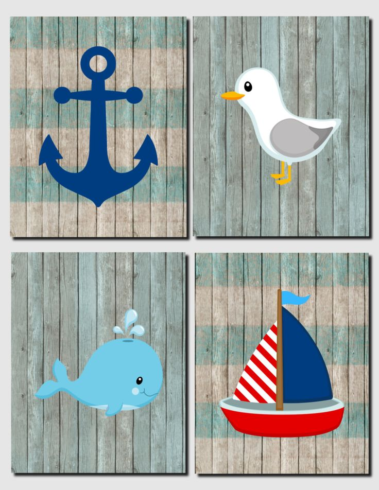 Nautical Nursery Decor Whale Seagull Anchor Sailboat Children's Room Art Bathroom Beach House Kids Room, Set of 4, Prints Canvas by vtdesigns on Etsy