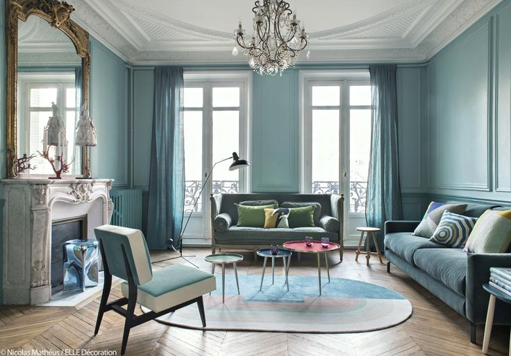 bleu turquoise et pastel le duo gagnant de cet appart haussmannien salon pinterest. Black Bedroom Furniture Sets. Home Design Ideas