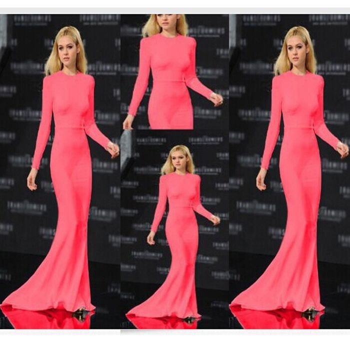 Find More Celebrity-Inspired Dresses Information about 2015 new fashion women ladies red long full sleeve shinny mermaid trumpet long tail floor length evening dress clothing,High Quality Celebrity-Inspired Dresses from LIFE  STORE on Aliexpress.com