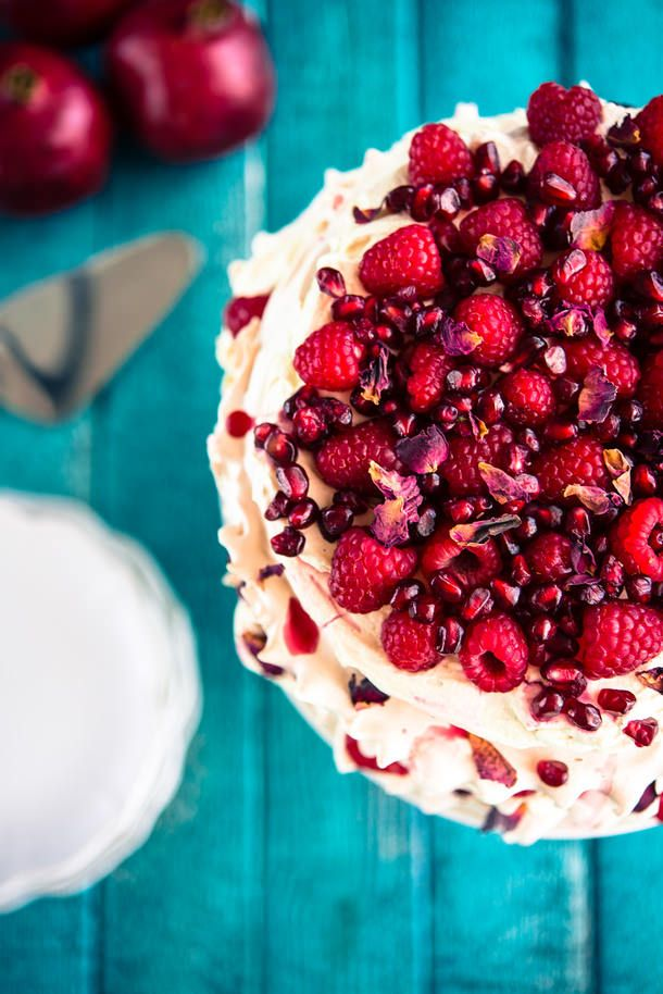 Raspberry Pomegranate Layered Pavlova (The Hungry Australian)