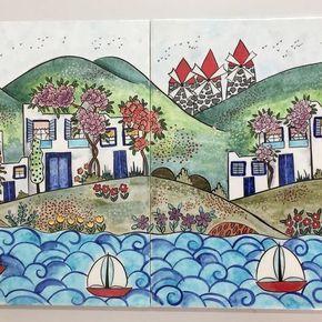 Bu da Alev hanım'ın bodrum evleri ⛵️#modernçini#duvarpanosu#bodrumevleri#bodrum#yelkenli#deniz#yaz#sehpakarosu