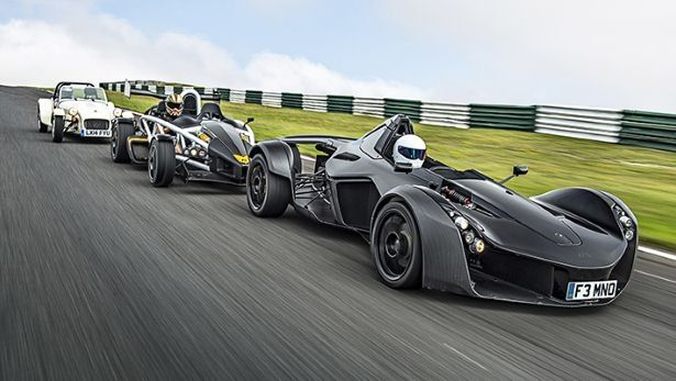BAC Mono, Ariel Atom and the Caterham 160, all road legal track weapons, and that BAC Mono at the front really does look like a weapon.