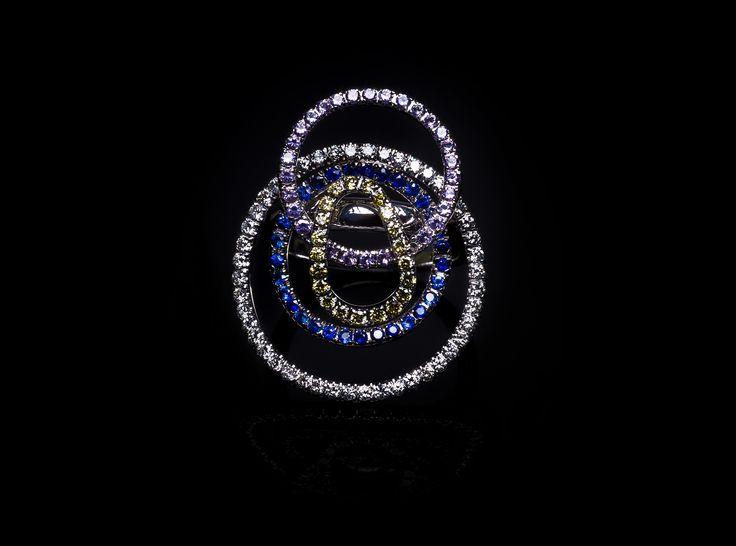 Taormina Ring - #digregorio_milano #digregoriogioielli_milano #whitediamonds #yellowdiamonds #sapphires #amethyst #colourfull #multicolor #whitegold #ring #geometries #jewel #jewellery #finejewellery #luxury