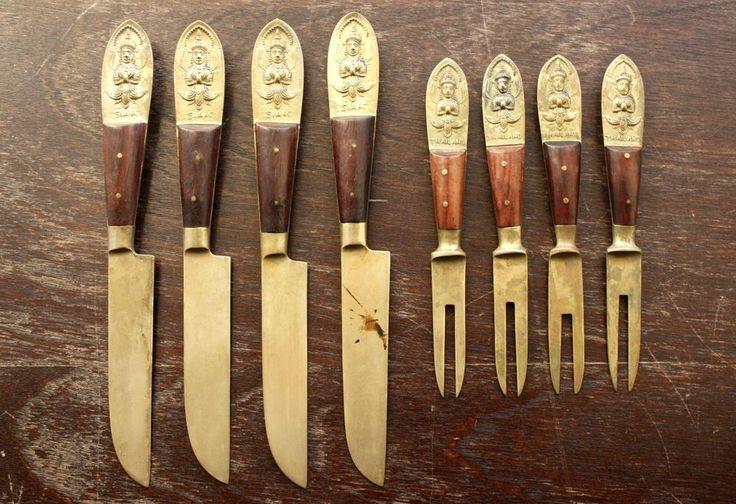 Vintage Knife Fork Set of 8 Siam Thailand Brass Buddha Teak Thai Asian Flatware