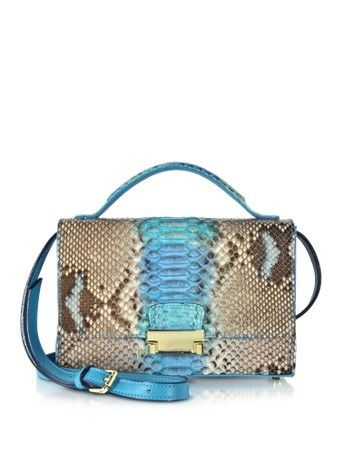 BLUE PYTHON AND LEATHER CROSSBODY BAG GHIBLI