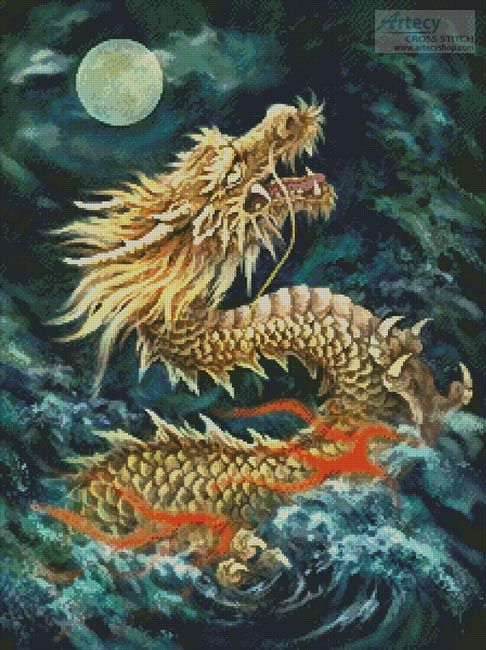 Dragon in the Moonlight cross stitch chart - Artecy Cross Stitch