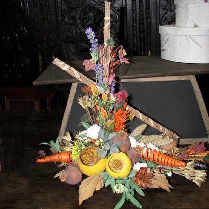 Centro de mesa redondo de flores secas la decoraci n - Plantas secas decoracion ...