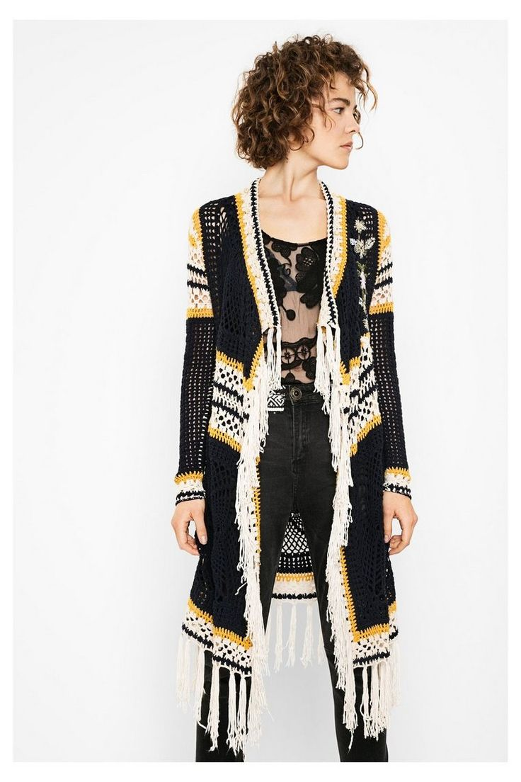 Blauw vest met etnisch ontwerp Soraya | Desigual.com 5001 Blue knit vest desigual soraya