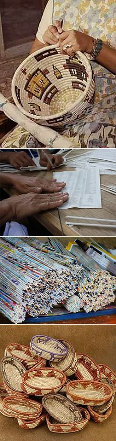 Basics of weaving from newspapers and magazines ..
