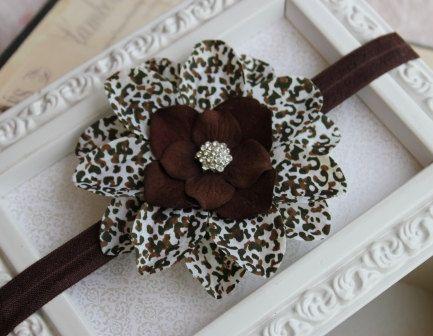 Brown Leopard Flower Headband Two-Toned Flower Baby Girls Hair Accessories -B1