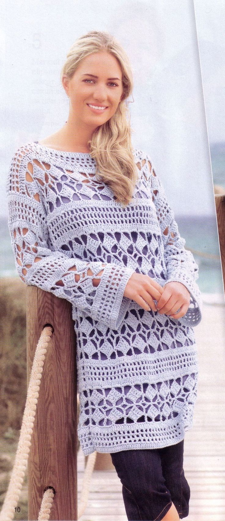 848 best crochetdresses images on pinterest 15 years blouses long tunic pullover crochet jumperscrochet topsfree bankloansurffo Gallery