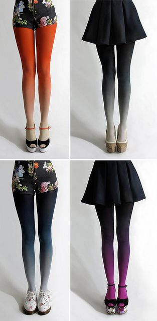 """.:* L - why have i never seen these awesome ombre by tights before?![from designvagabond: """"Lovely Ombré tights by Tiffany Ju. via Design*Sponge""""]"""