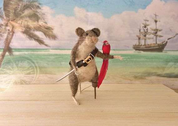 Needle Felted Animal Pirate Mouse with Sword by GentlySpokenFriend