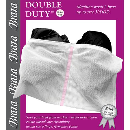 The Braza DOUBLE DUTY bra washer bag provides a safe alternative to hand washing large bras.