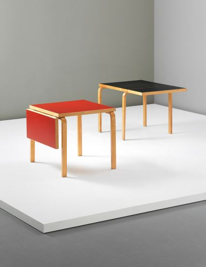 PHILLIPS : UK050313, ALVAR AALTO, Pair of rare extendable 'L-leg' tables