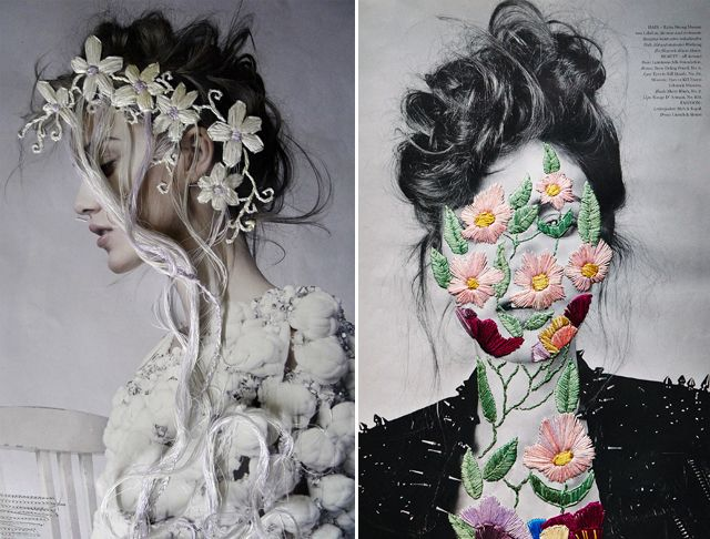 Chilean artist Jose Romussi embroiders flowers and geometric doodles over pages of fashion editorials