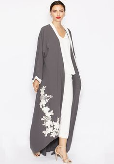 Shop grey Detailed Floral Motif Bisht from Hayas Closet grey at Namshi.com - Women  in Saudi
