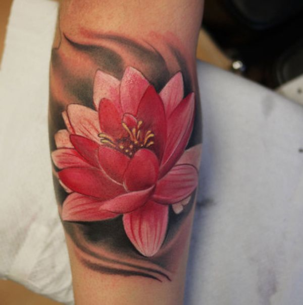 The lotus flower represents purification and faithfulness in Buddhism as it grows from a murky water, while rising and blooming above the murk to achieve enlightenment.