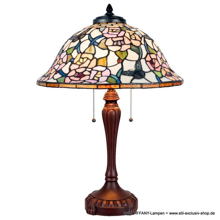 """Zeitlose TIFFANY-Tisch-Lampe BELVEDERE  46*65 cm 3 x E27/ je 60W   mit praktischer Zug-Schaltung !  Elegantes Modell aus ausgesuchten TIFFANY-Gläsern mit floralem Motiv, eingearbeiten Schmetterlingen und kleinen leuchtenden """"Jewels"""".  Dieses hier ist nur ein kleinster Ausschnitt aus unserem grossen TIFFANY-Lampen-Angebot ! Gerne zeigen wir Ihnen noch wesentlich mehr  auf unserer website mit Deutschlands bekannt riesengrosser TIFFANY-Lampen-Auswahl (mehr als 1000 TIFFANY-Lampen!)"""