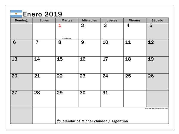 Calendario Diciembre 2019 Para Imprimir Argentina.Calendario Enero 2019 Argentina Caritas Calendario