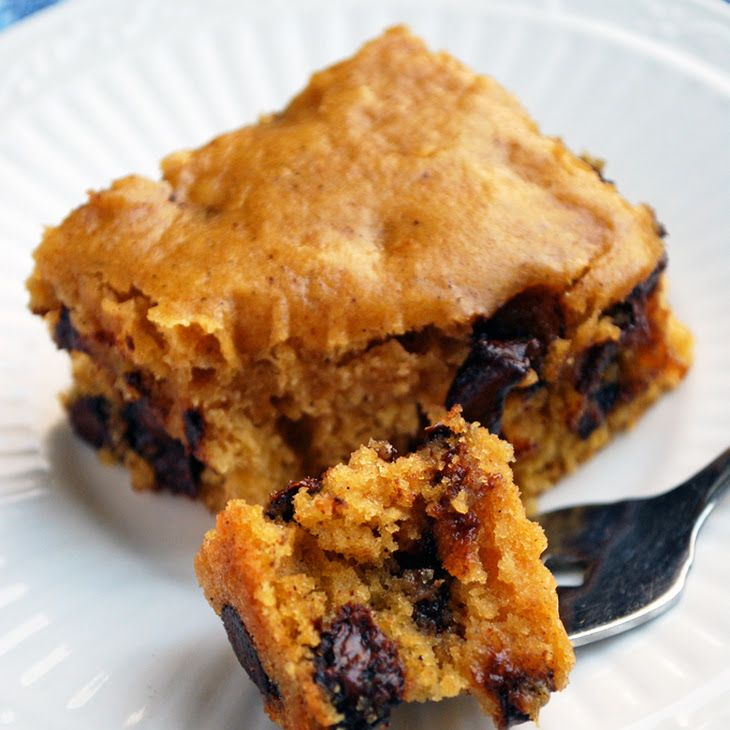 Butternut Squash Snack Cake Recipe with butter, firmly packed brown sugar, large eggs, pure vanilla extract, butternut squash, all purpose unbleached flour, baking powder, baking soda, cinnamon, semi-sweet chocolate morsels